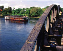RV River Kwai Passing Bridge on the River Kwai